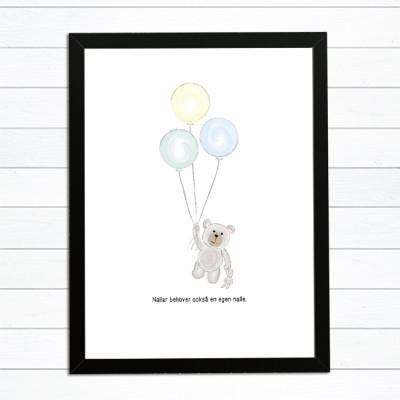 baby tavla ballong nalle