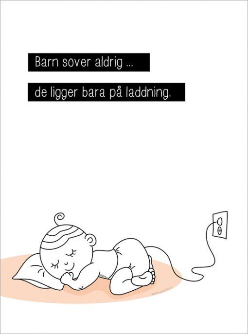 barnet sover inte tavla