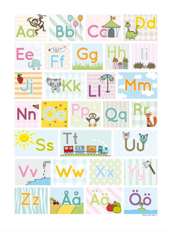 Bokstäver alfabet pedagogisk poster