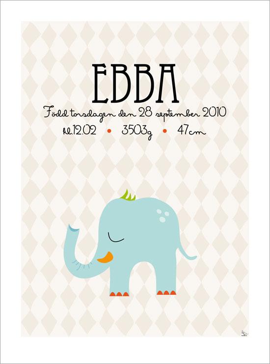 namntavla med elefant till barn