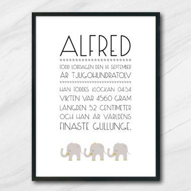 Namntavla med barnets namn och födelseuppgifter och elefanter