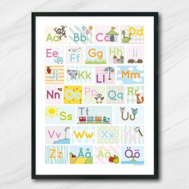 alfabetet pedagogisk barntavla bokstäver