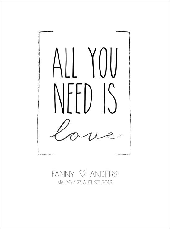 all you need is love bröllopstavla