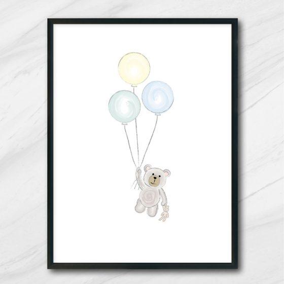 ballong nalle poster barntavla