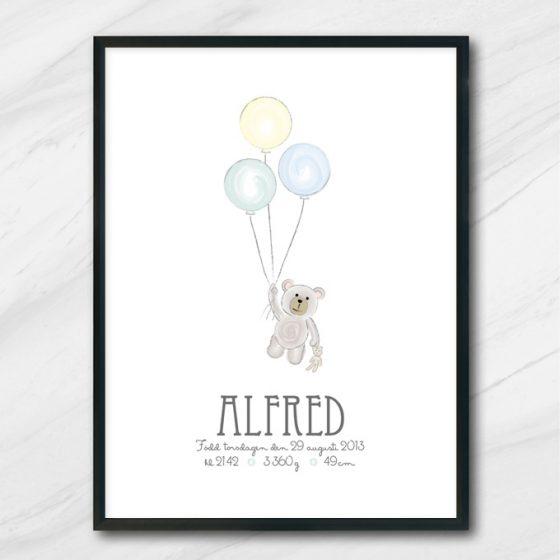 ballong nalle poster med namn och födelseuppgifter
