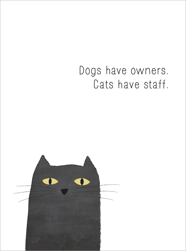 dogs have owners. cats have staff.