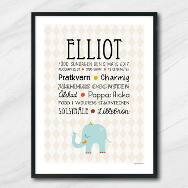 elefant födelsetavla med namn och egenskaper