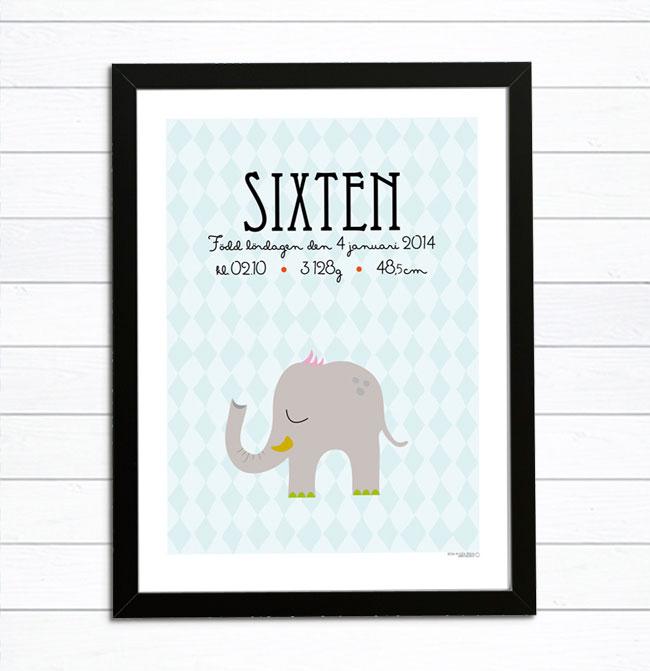 doptavla elefant namntavla