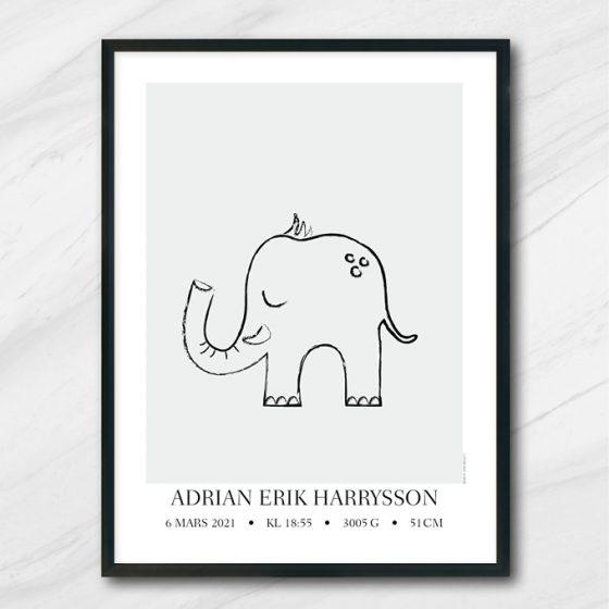 elefantis namntavla doptavla med elefant