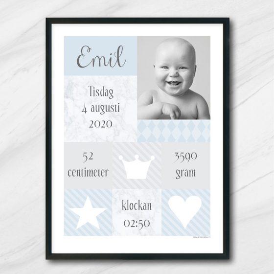 födelsetavla med foto namn och vikt längd och tid namntavla