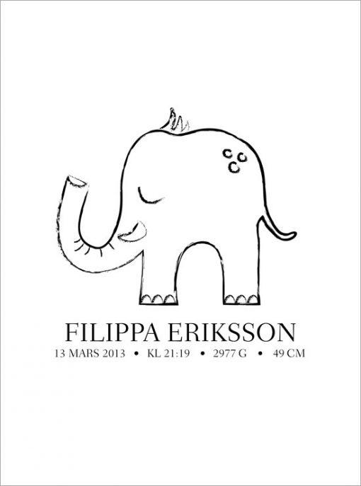 namntavla elefant