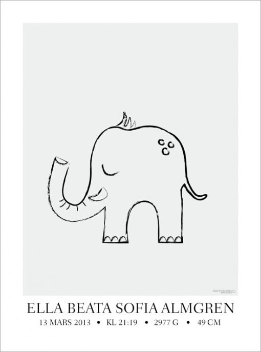 elefanttavla barn namntavla