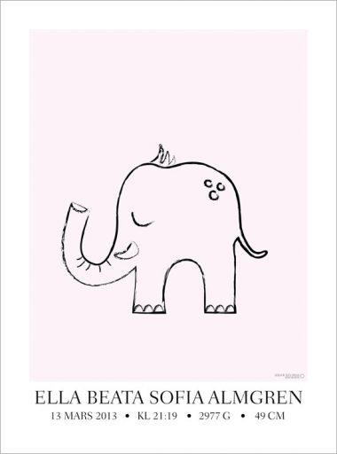tavla till barnrummet elefant