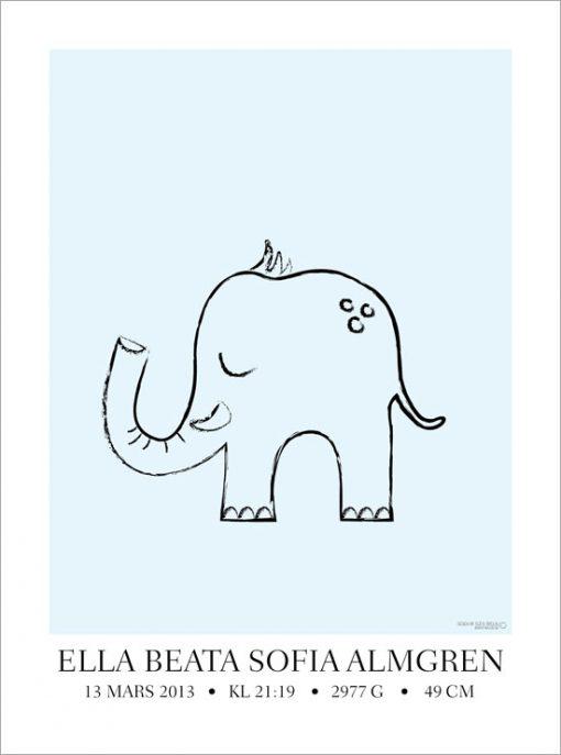 barntavla med elefant