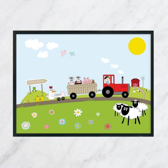 barntavla bondgård med traktor, bonde och bondgårdens djur poster