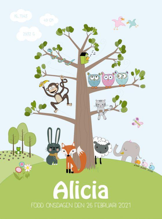barntavla djurträdet namntavla med olika djur