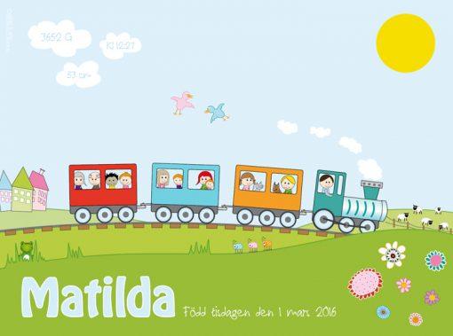 barntavla med tåg