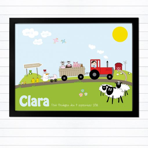 barntavla med traktor och namn