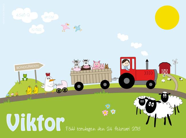 namntavla bondgård med traktor