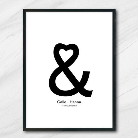 kärlekstavla bröllop tavla med namn och datum och kärlek