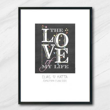kärlekstavla bröllop tavla med namn och datum the love of my life