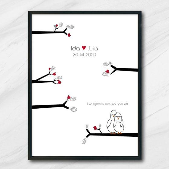kärlekstavla bröllop tavla med namn och datum turturduvor