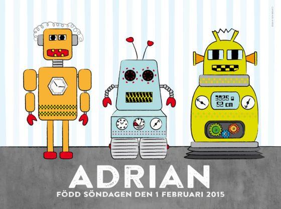 Namntavla med robotar