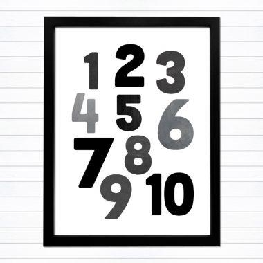 snygga svarta siffror tavla