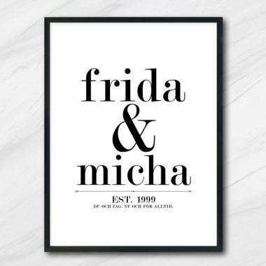 kärlek bröllop tavla med namn och datum