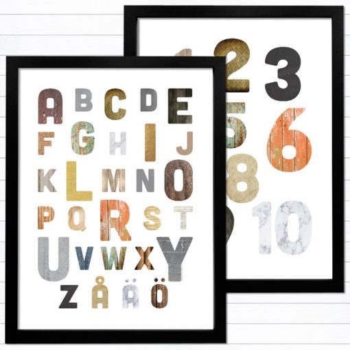 snygga bokstäver och siffror tavla