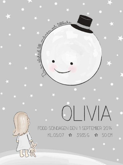 Älskad till månen - personlig tavla