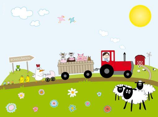 Barntavla med traktor bondgård